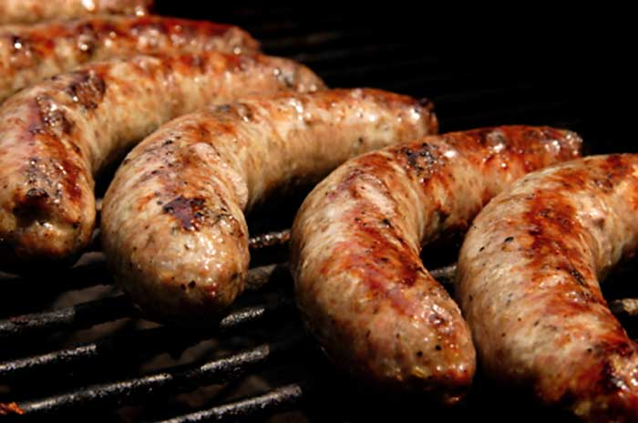 Perfectly barbecued sausages