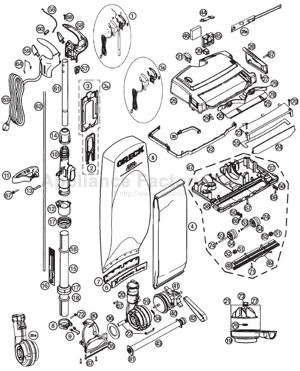 Vacuum Parts  Oreck Xl Vacuum Parts Diagram